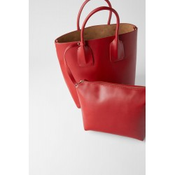 ZARA SAC SHOPPER RIGIDE ROUGE